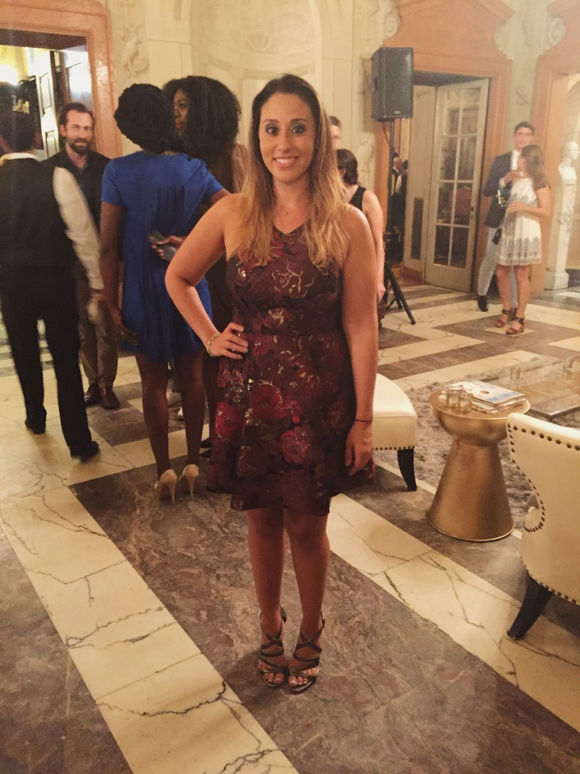 Washingtonian Events Manager Jessi Taff wearing an Aqua dress and Pour la Victoire heels.